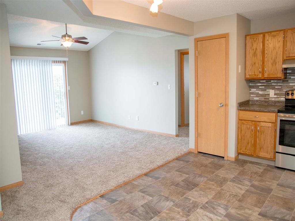 Spacious living area in renovated space at Highland View Apartments in Lincoln NE