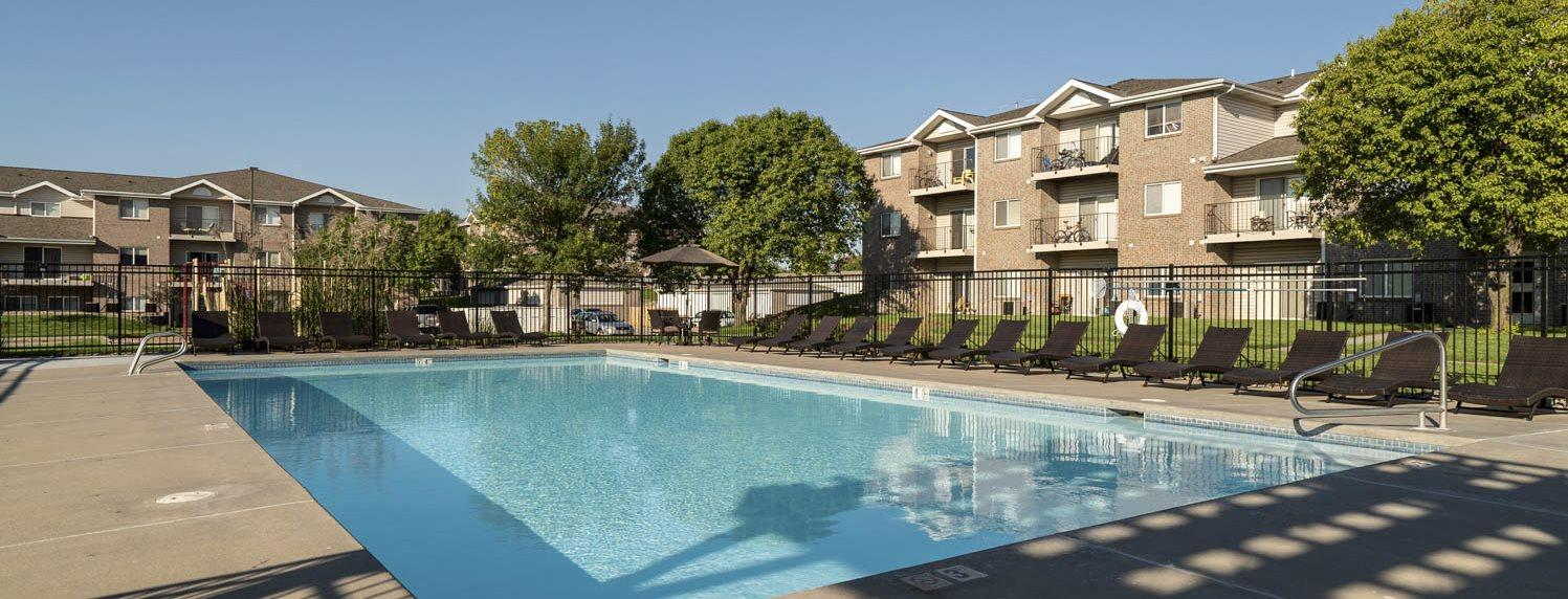 Swimming pool at Highland View Apartments in north Lincoln NE 68521