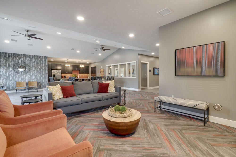 Clubhouse interior with comfortable seating at Highland View Apartments in north Lincoln NE 68521