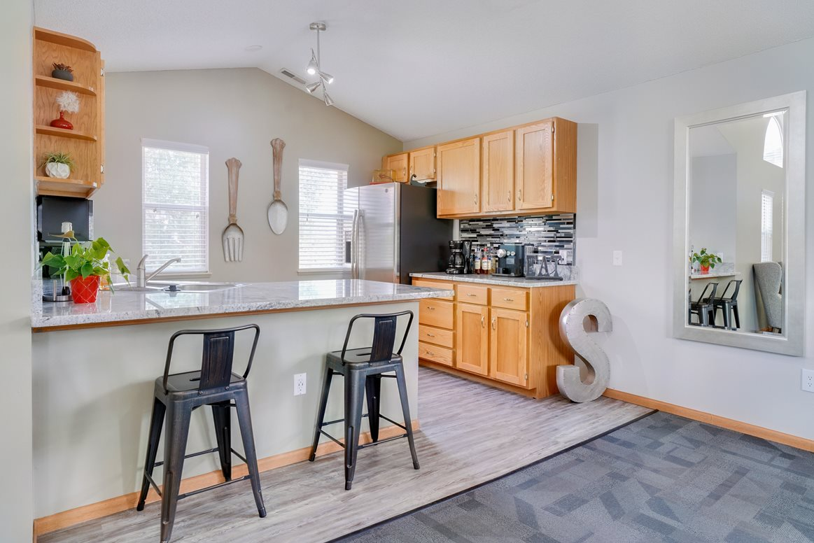 Full sized shared kitchen in the clubhouse at Skyline View