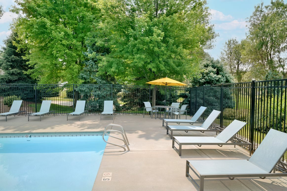 Outdoor pool surrounded by trees and lounge chairs