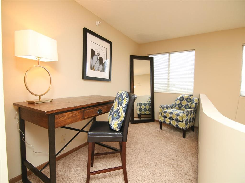 desk area at Pine Lake Heights Apartments in Lincoln Nebraska