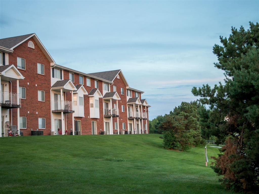 exterior side view at Pine Lake Heights Apartments in Lincoln Nebraska