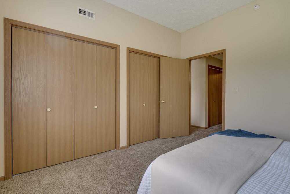 Two closets in the bedroom for storage at Pine Lake Heights apartments