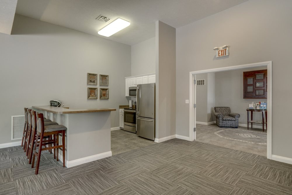 Clubhouse kitchen at Pinebrook Apartments!