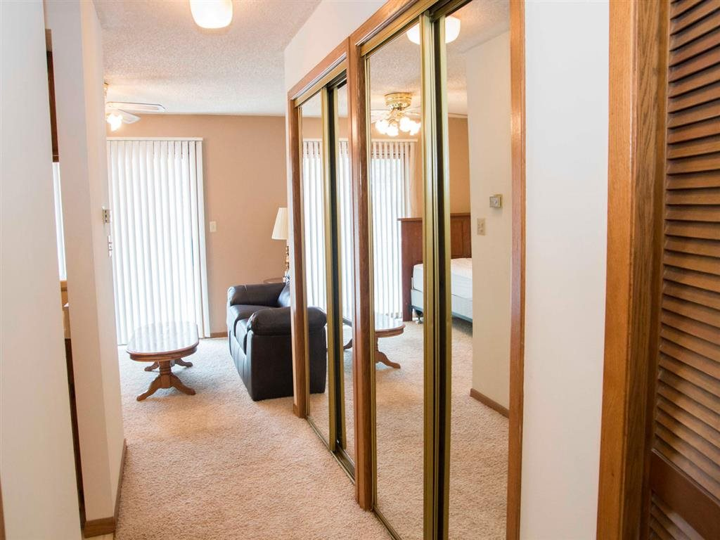hallway and living space at Capitol View Apartments in Lincoln Nebraska