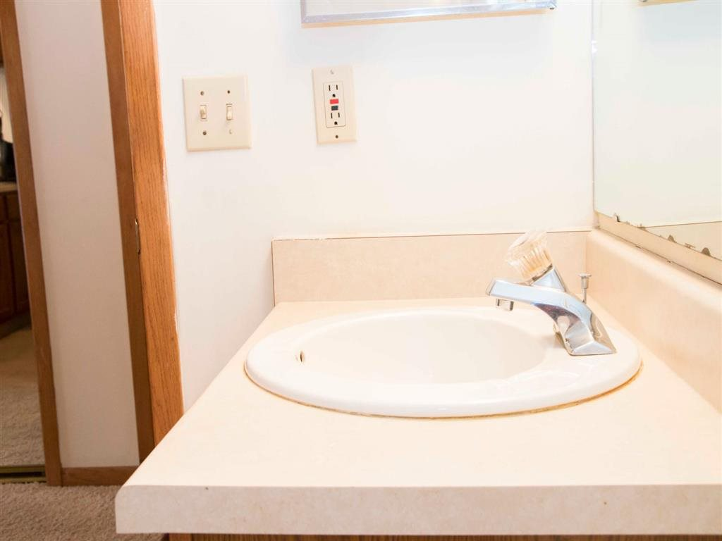 bathroom sink at Capitol View Apartments in Lincoln Nebraska
