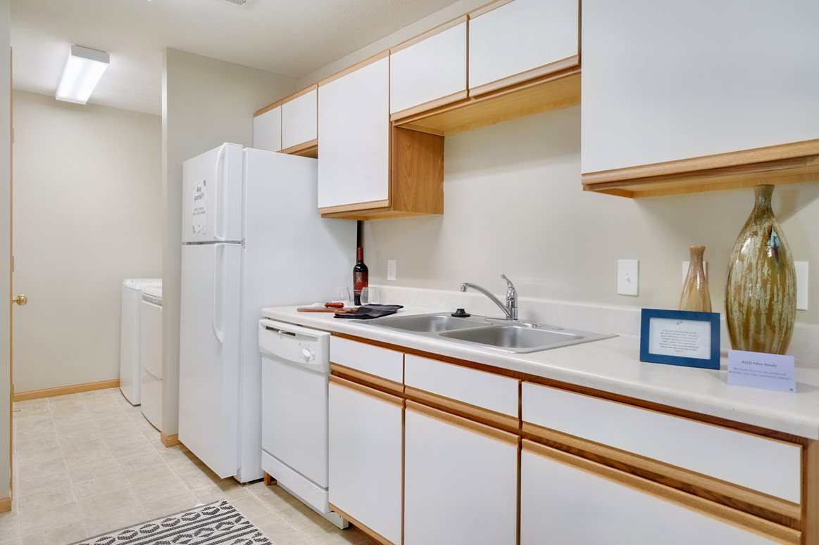 One side of a galley-style kitchen with upper and lower cabinets, dishwasher and fridge