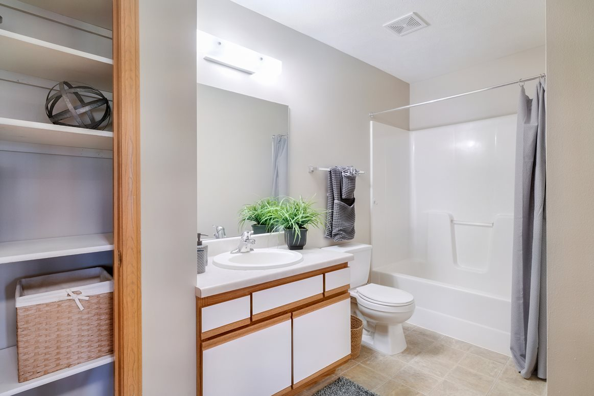 Large bathroom with linen closet and vanity for storage and tub/shower combo