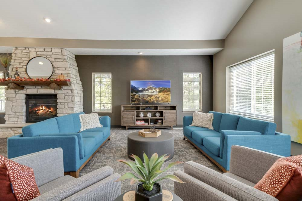 TV lounge in the renovated clubhouse at Stone Creek Villas townhomes in west Omaha NE 68116
