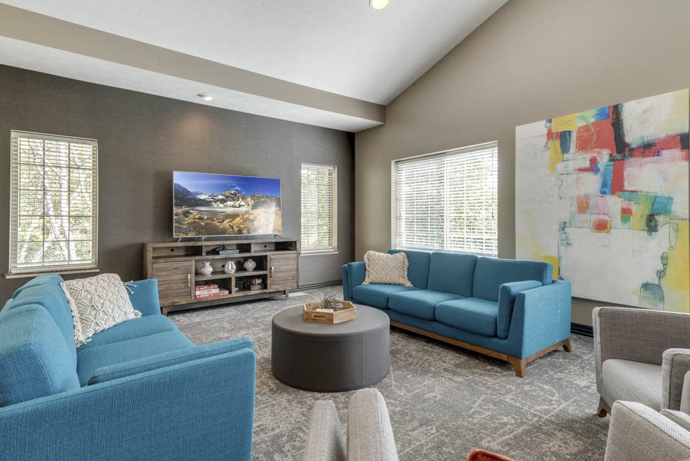 TV lounge in the clubhouse at Stone Creek Villas townhomes in west Omaha NE 68116