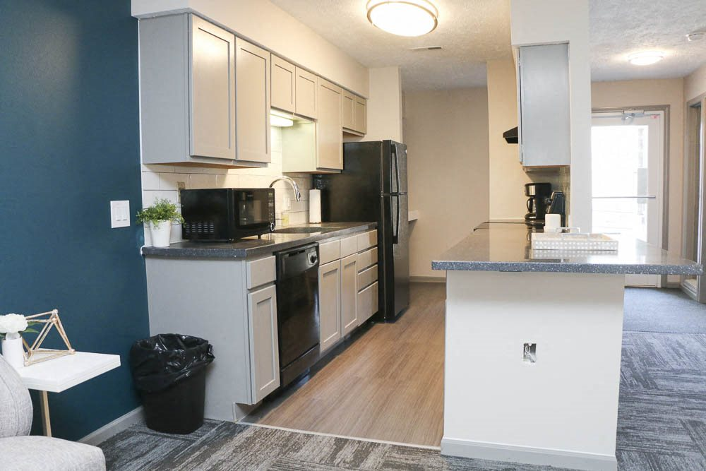 Kitchen in the clubhouse-Eagle Run Apartments in Omaha NE