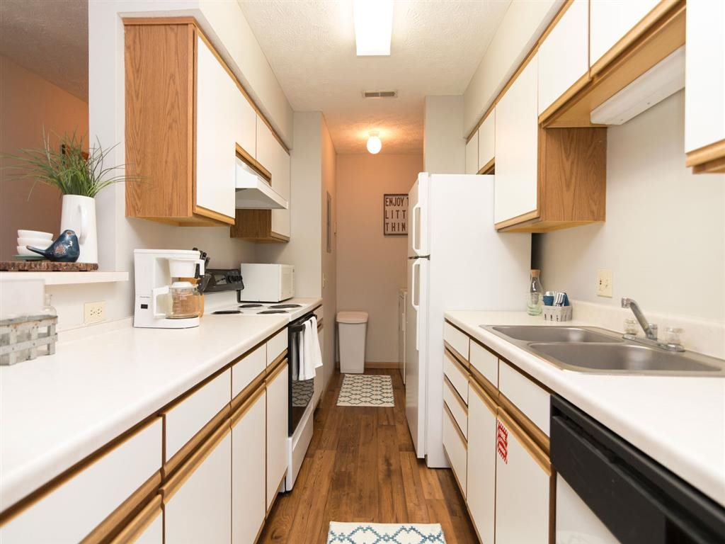 View of entire kitchen at Eagle Run Apartments in Omaha, NE