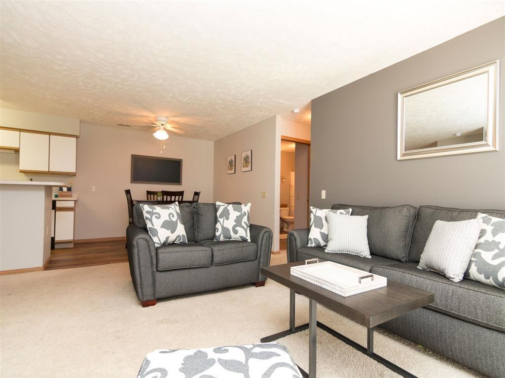 Living room with plenty of natural light at Eagle Run Apartments
