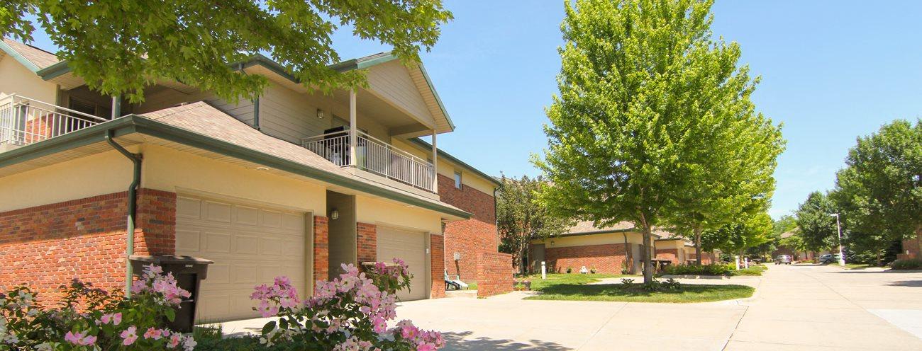 Southwind Villas exterior with attached garages in La Vista, NE
