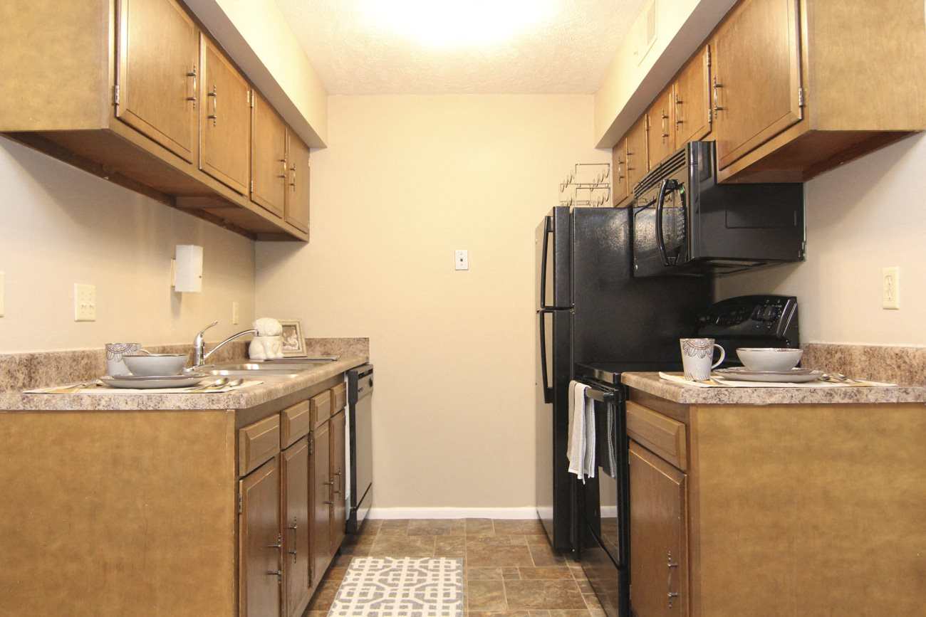Interiors-Place 72 Apartments kitchen with appliances