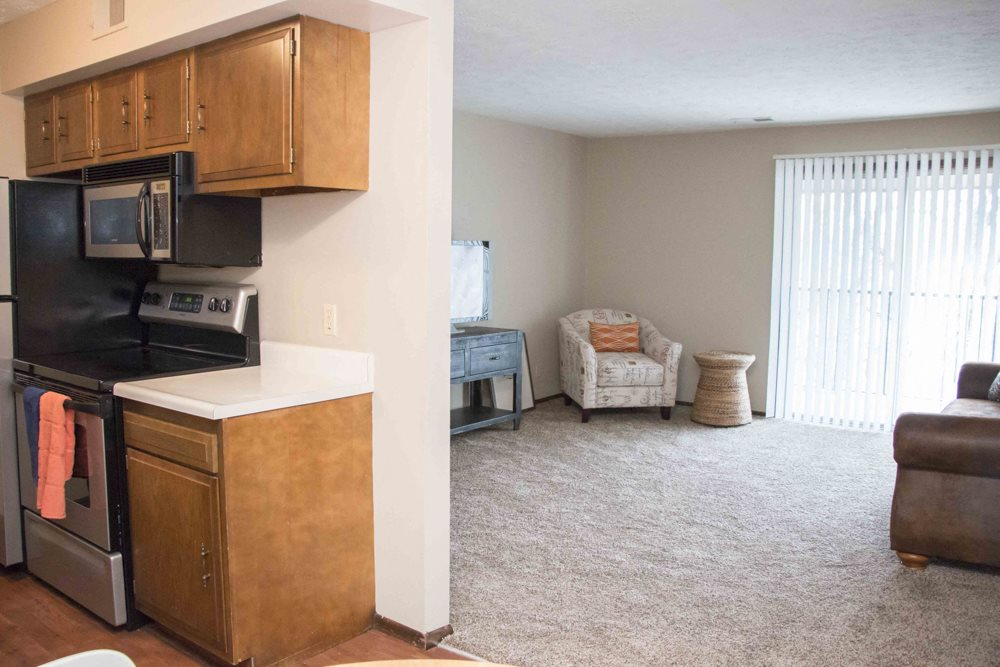 View of living room from kitchen at Place 72
