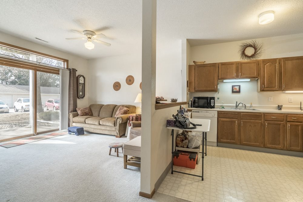 Interiors-View of kitchen and living room in 2-bedroom apartment at Wyndham Heights
