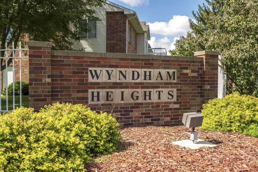 Entrance sign to Wyndham Heights Apartments in west Ames, IA 50014