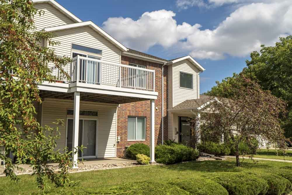 Large balcony with apartment at Wyndham Heights Apartments in west Ames, IA 50014