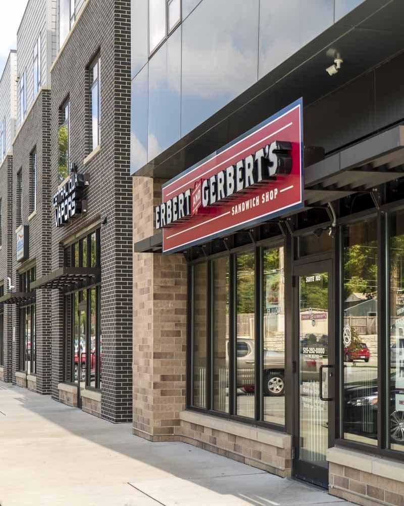 Erbert and Gerbert's sub shop near Wyndham Heights Apartments in west Ames, IA, near Iowa State 50014