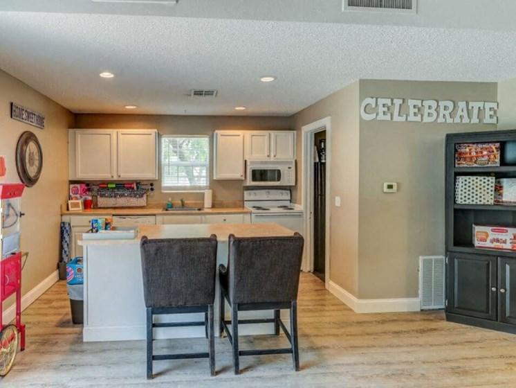 clubhouse kitchen at Wichita KS apartments