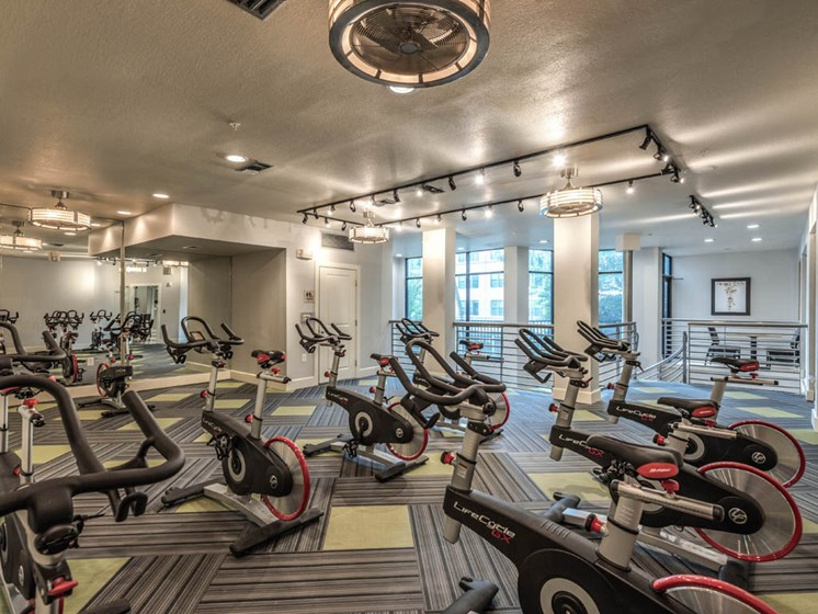 Cycling Machines in Fitness Center at The Circle at Hermann Park in Houston, Texas