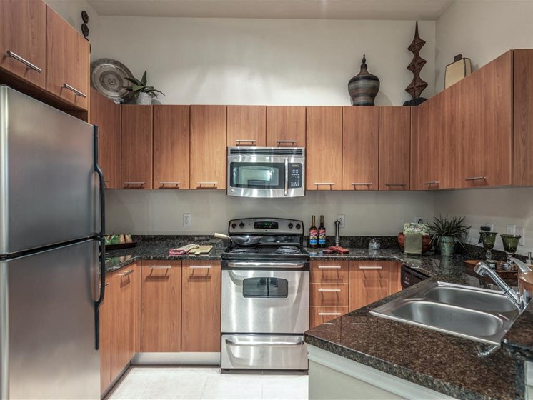 Fully-Equipped Kitchen at The Circle at Hermann Park in Houston, Texas