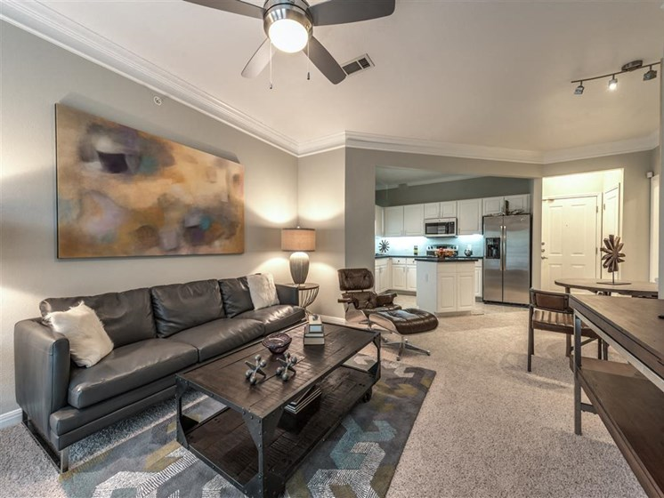 Living Room Interior at The Circle at Hermann Park in Houston, Texas