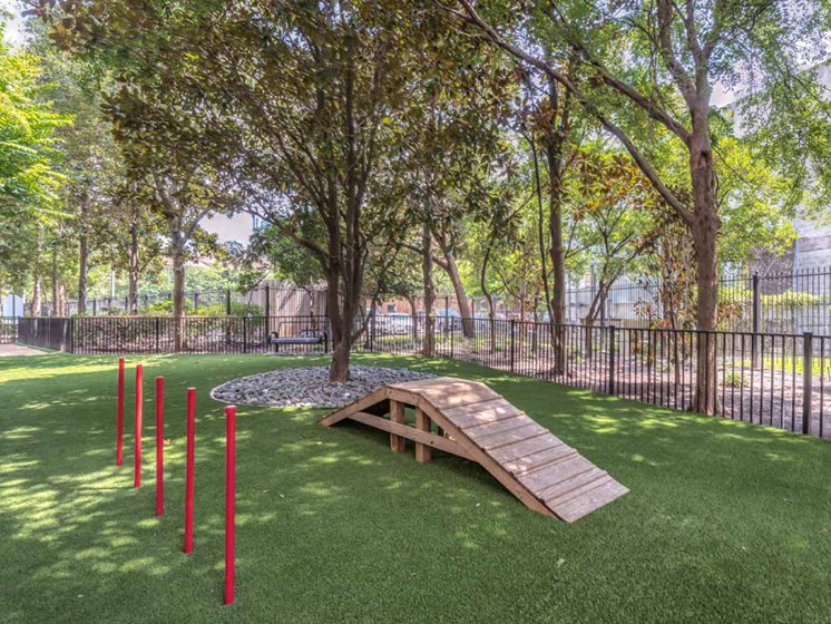Pet Park Obstacle Course at The Circle at Hermann Park in Houston, Texas
