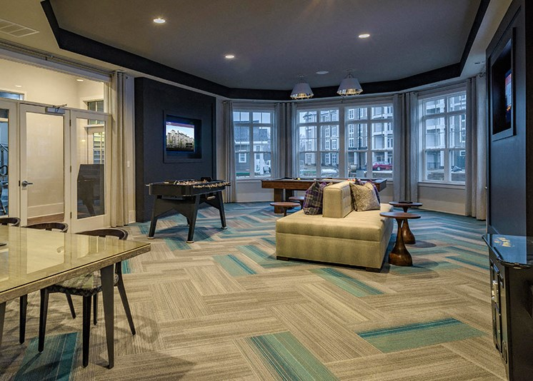 Game Room with Foosball Table at Abberly at Southpoint Apartment Homes by HHHunt, Fredericksburg, 22407