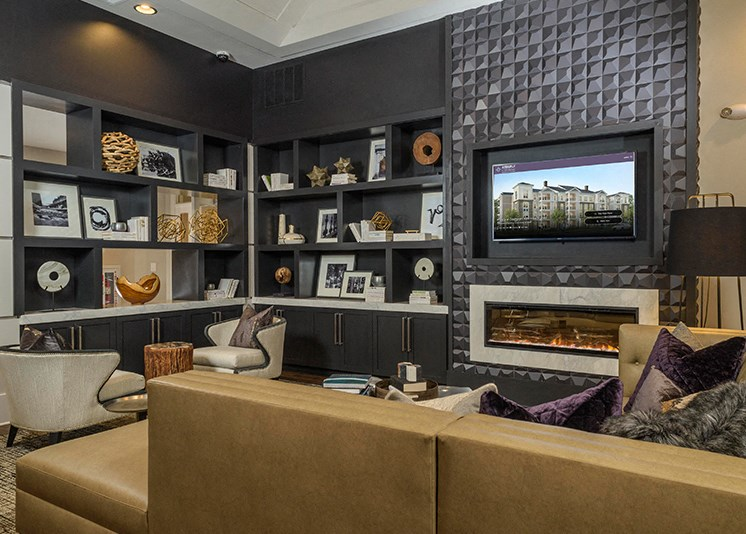 Vibrant Clubhouse with 4K Ultra HD Smart TVs  at Abberly at Southpoint Apartment Homes by HHHunt, Virginia