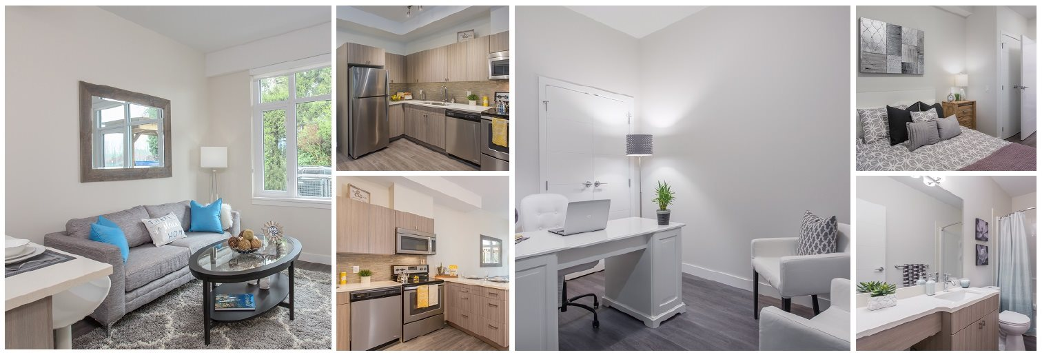 Collage of interior, exterior, and lifestyle images at6 Lynn Creek Apartments in North Vancouver, BC