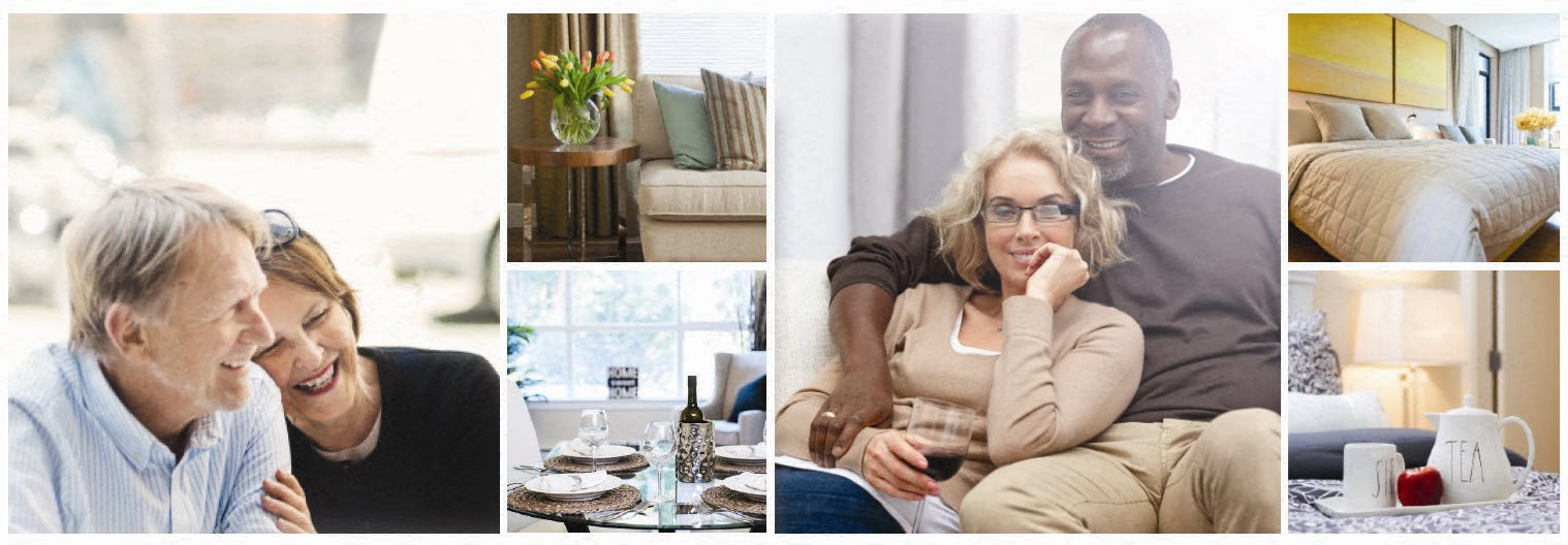Collage of interior, exterior, and lifestyle images at Riverbend Tower in Chatham, ON
