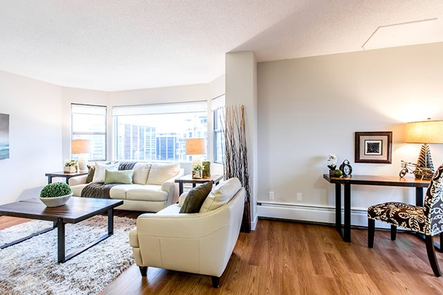 Secord House in Edmonton, AB living room with luxury vinyl flooring throughout