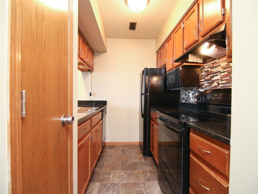 Inside a renovated kitchen space at Fountain Glen Apartments in Lincoln Nebraska