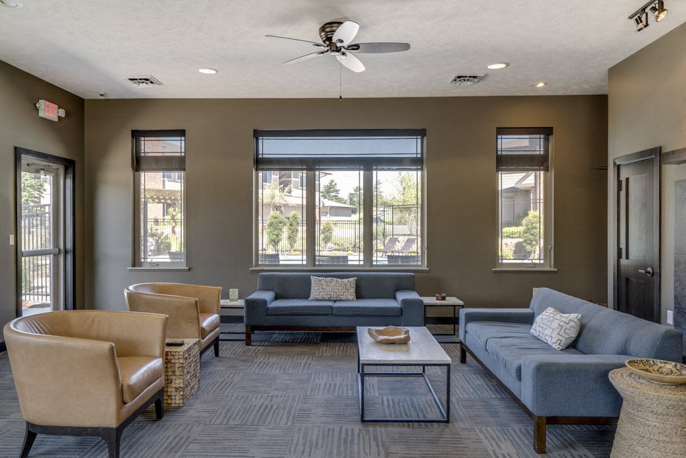 Community clubhouse with TV lounge at North Pointe Villas luxury townhomes in north Lincoln NE