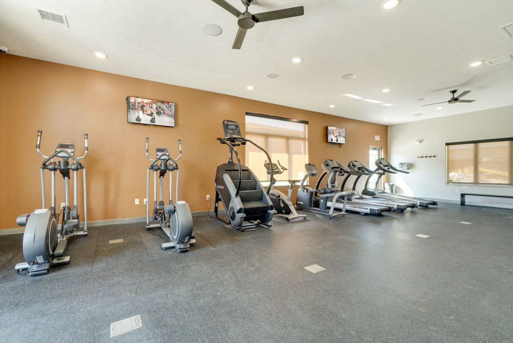 Large fitness center at new west clubhouse at North Pointe Villas luxury apartments near 14th and Fletcher