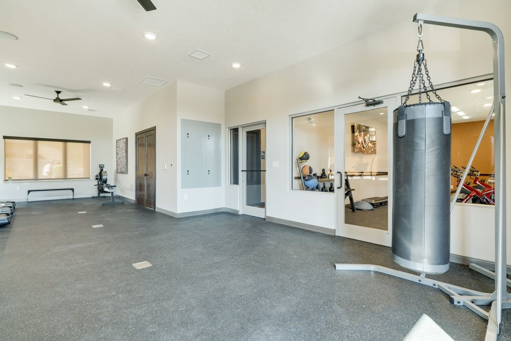 Boxing bag and yoga studio at North Pointe Villas apartments and townhomes in northwest Lincoln