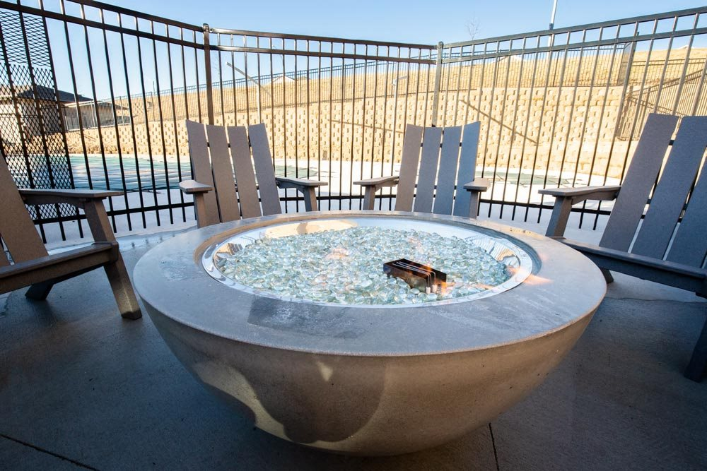 Outdoor firepit at North Pointe Villas luxury apartments in north Lincoln NE