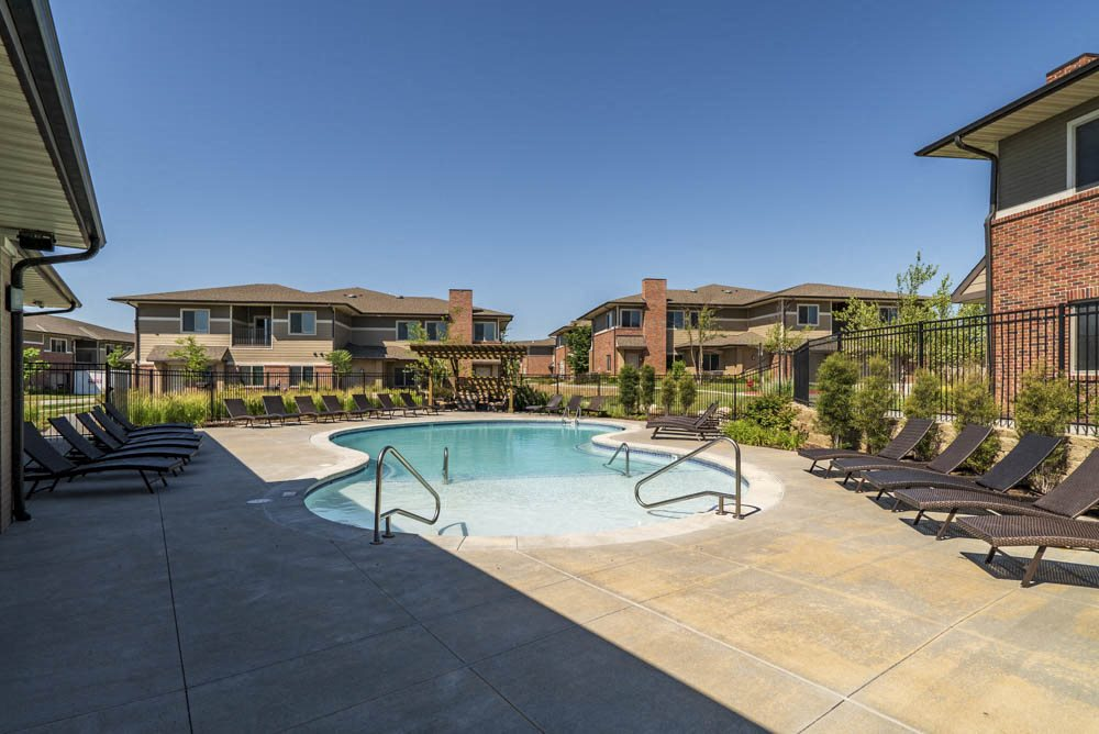Resort-style pool at North Pointe Villas upscale apartments in northeast Lincoln NE