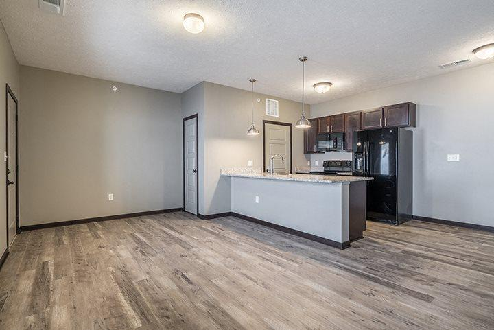 New luxury apartment with hardwood-style floors and granite countertops at North Pointe Villas townhomes in North Lincoln