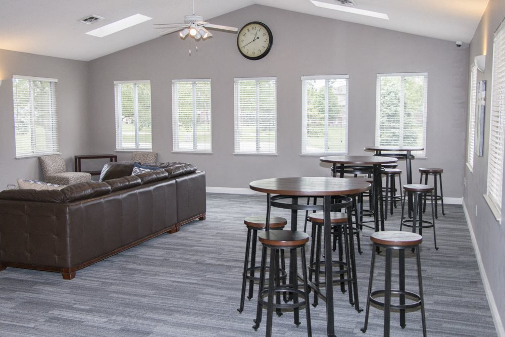 Renovated clubhouse includes TV lounge and tables for residents
