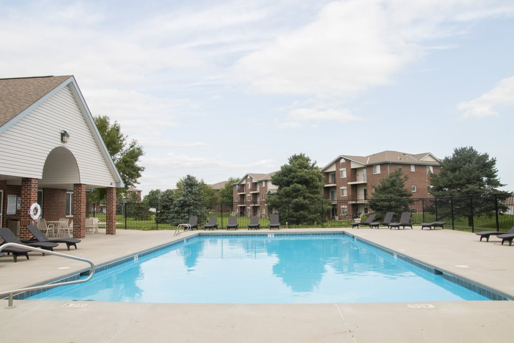 Swimming pool with view of buildings in the background at Northridge in Lincoln, NE