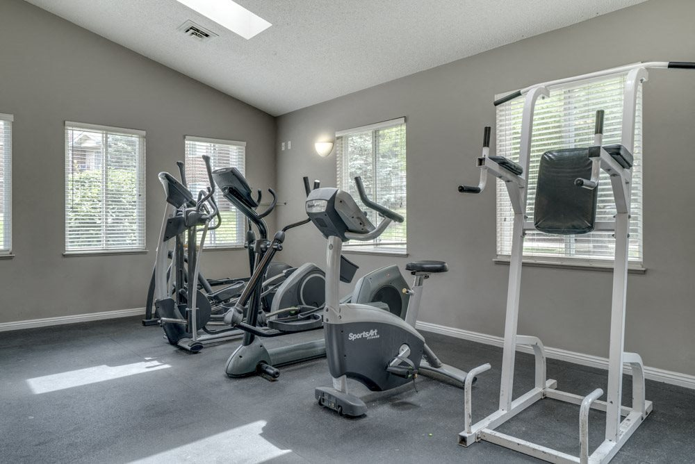 Fitness center with cardio equipment at Northridge Heights Apartments in north Lincoln.