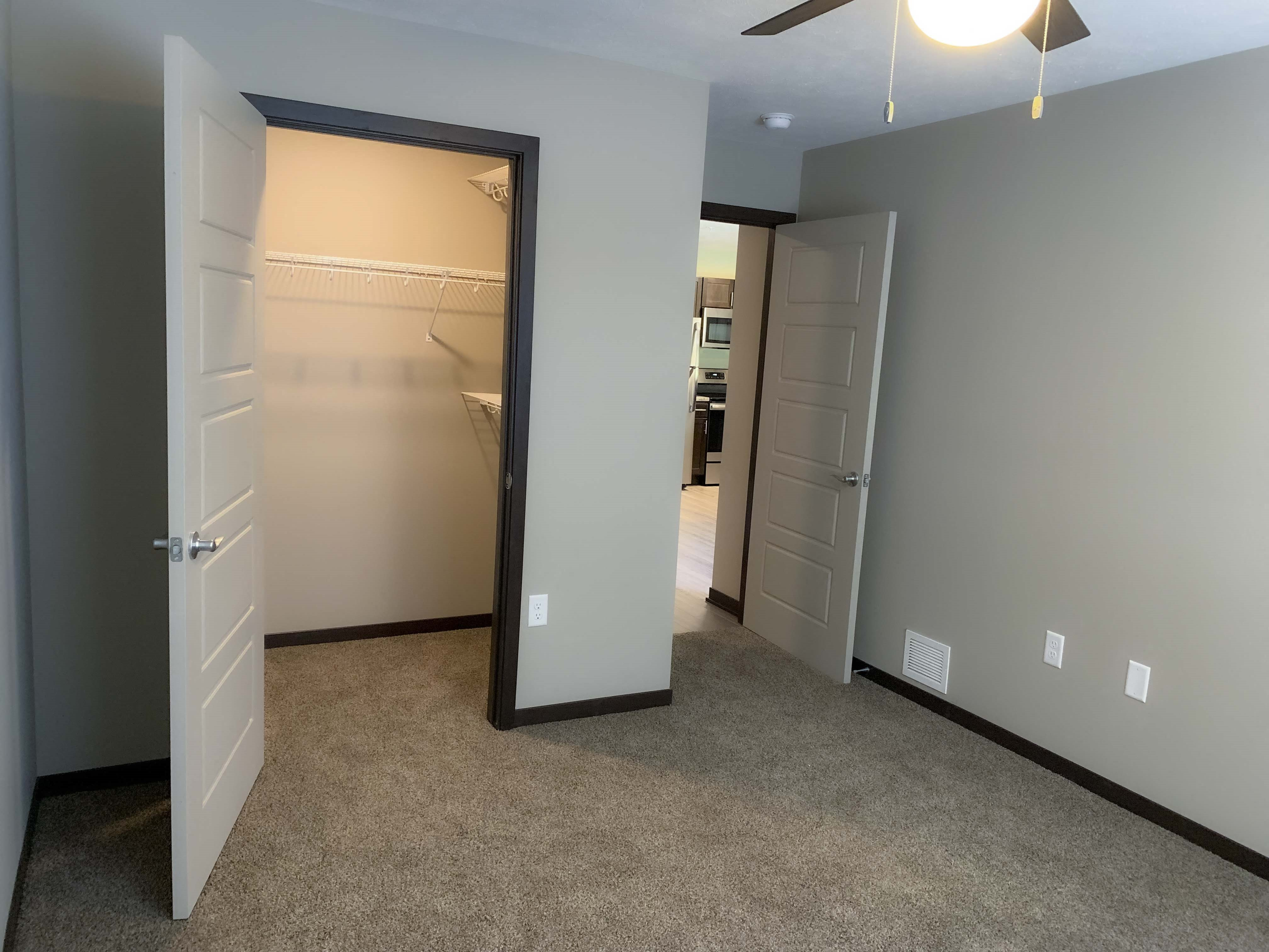 Renovated bedroom with large walk in closet at Northridge Heights in north Lincoln