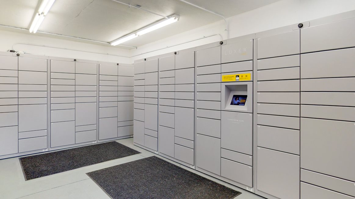 Luxer electronic package lockers in the clubhouse at Northridge Heights
