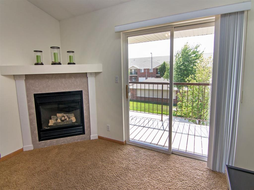 Gas Fire Place and spacious balcony at The Northbrook Apartments in Lincoln NE