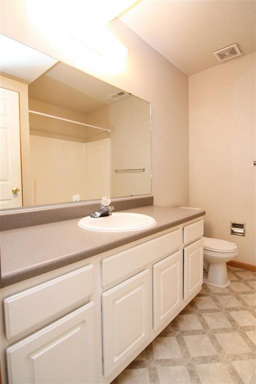 Lots of counter space and storage in bathroom at Northbrook Apartments in Lincoln NE
