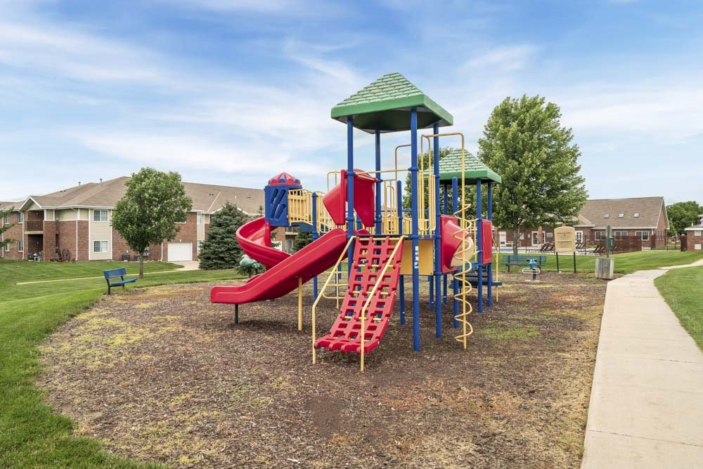 Outdoor playground for children at The Northbrook Apartments in Lincoln, NE